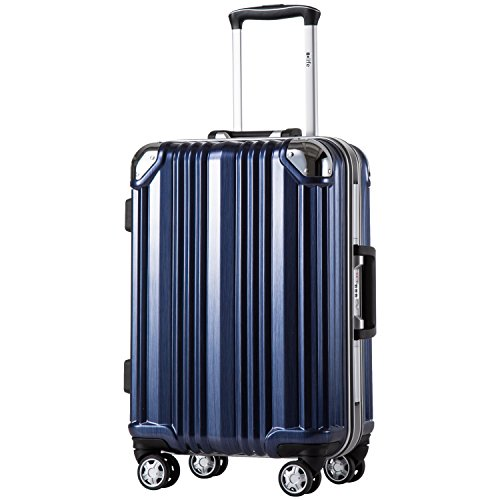 Coolife Luggage Aluminium Frame Suitcase TSA Lock 100% PC 20in 24in 28in (Blue, M(24in))