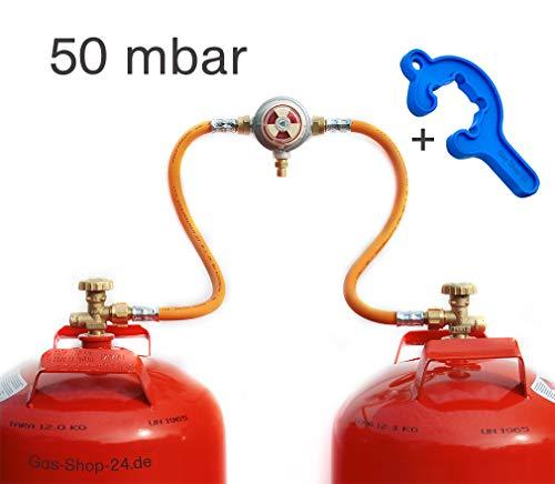 Automatische 50 mbar Zweiflaschenanlage für 3/5/ 11 kg Propangasflaschen/Gasflaschen (Flaschenanlage, Druckminderer, Propangas Flüssiggas Kleinflaschenanlage) für Gewächshausheizungen