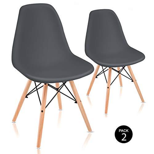 Mc Haus Sena Gris Antracita X2 Pack de Sillas de Comedor de Diseño Nórdico, Haya y Polipropileno, 51x46x82 cm, 2 Unidades
