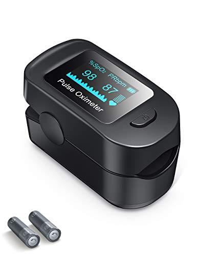 Roffie Pulsoximeter Fingertip, SpO2 und PR-Wert Wellenform Blutsauerstoff-Körpergesundheitsmonitor mit LED-Anzeige, Pulssensormessgerät mit Alarm und Pulsfrequenzmonitor für Erwachsene und Kinder
