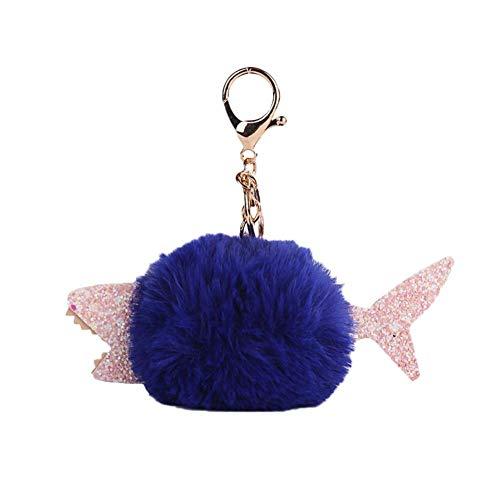 Outflower Llavero Aleación Forma de Tiburón con Bola de Pelo Llavero Retro Accesorios de Bolsa Llaveros Coche para Mujeres Llaves Anillas
