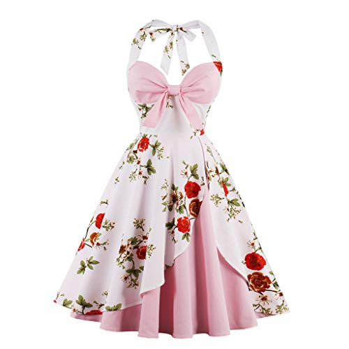 Lazzboy Damen Vintage Polka Neckholder Kleid Floral Sping Retro Cocktailkleid Rockabilly 50er Petticoat Faltenrock 1950er Kleider Cocktail Festliche(Rosa,XL)