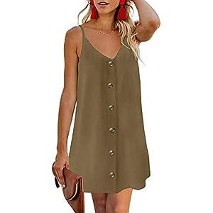 XUNN Women's Dress Summer Fashion V-Neck Button Beach Leisure Resort Braces Sexy Backless Skirt Women Dress - Green - XX-Large