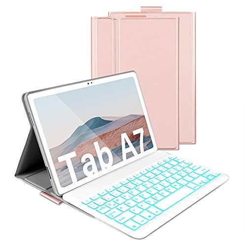 Beleuchtete Tastatur Hülle für Samsung Galaxy Tab A7 10.4 Zoll T505/T500/T507, Schützhülle mit Bluetooth Abnehmbarer QWERTZ Tastatur, 7 Farbige Hintergr&beleuchtung, Rosa Gold