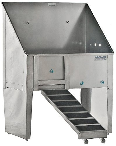 GROOMER'S BEST Walk-Through Bathing Tub with Right Plumbing and Left Ramp, 36-Inch