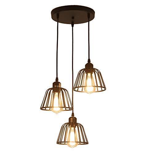 Rustikale industrielle Pendelleuchte, 3 Lichter Industrie Decke hängende Leuchte Kronleuchter E27 für Kücheninsel Schlafzimmer Wohnzimmer Esszimmer, schwarz