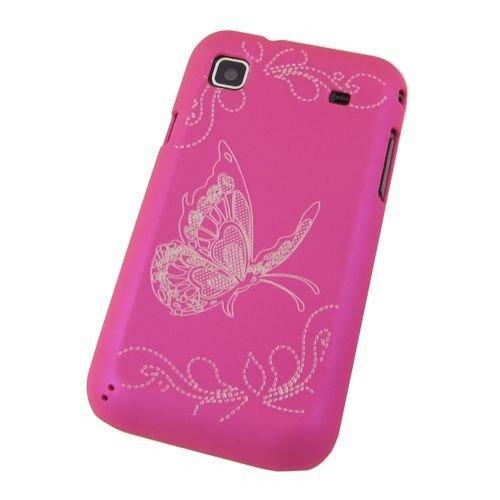 Shell morsetto copertura copertura di caso della farfalla della Samsung Galaxy S Advance GT-I9070 Smartphone Hard Case Hot pink