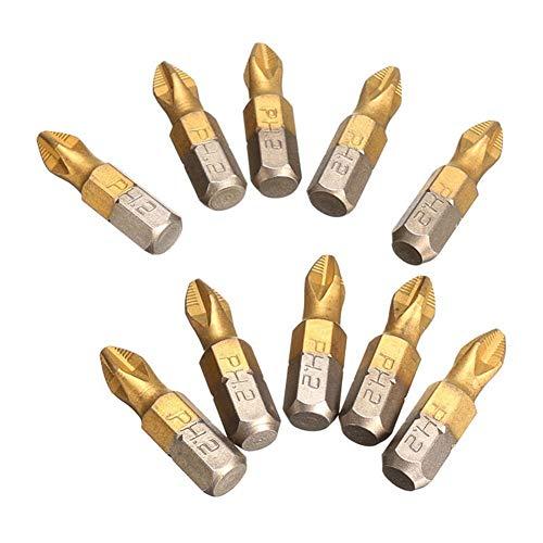 MOUNTAIN MEN Herramientas profesionales, 10pcs profesionales/set 1/4' acero de alta aleación PH2 magnético recubierto de titanio puntas de destornillador S2 conveniente Bien hecho