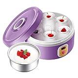 XIAOQIAO 6 Individual Copa eléctrico Yogur Cafetera, Pantalla LED, Hacer Fresca casera Bio-Active Yogur en su Propia Cocina, Friendly Fabricante de Yogur (Color : Purple)
