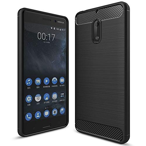 NALIA Silicone Case Compatible with Nokia 6, Ultra-Thin Protective Phone Cover Rugged TPU Rubber-Case Gel Soft Skin, Shockproof Slim Back Bumper Protector Smartphone Back-Case Shell - Black