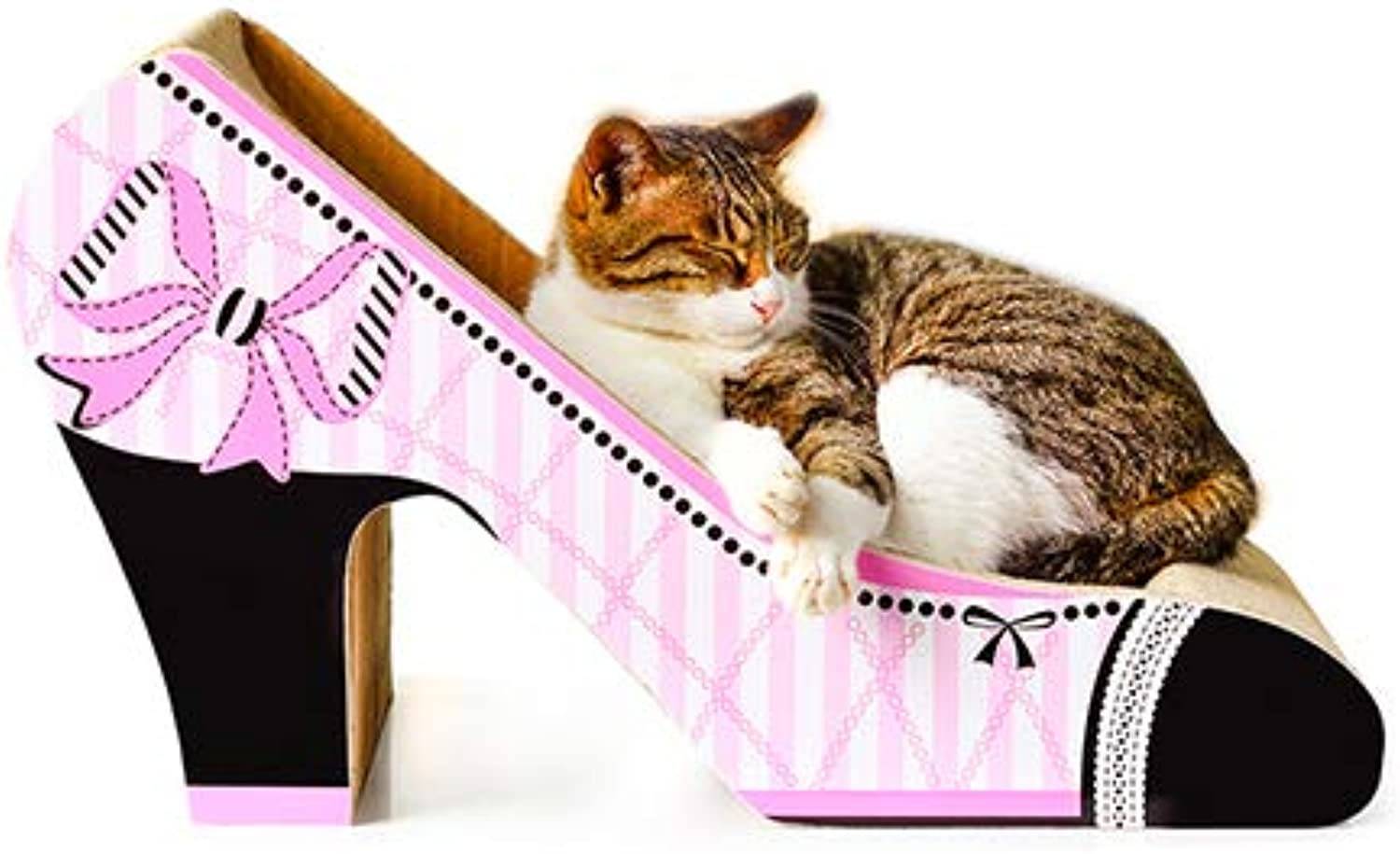 Cat Scratch Lounge Cardboard Cat Grab Bed Corrugated High Heel Shaped Cat Scratch Board Suitable Small Medium Cat