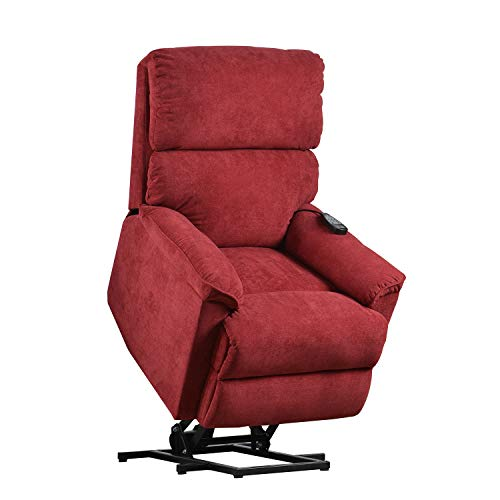Merax Electric Recliner Chair Lazy Sofa for Elderly, Power Lift Massage and Heat Function for Office or Living Room, Red