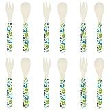 Set de cubertería para bebé - Cucharas y tenedores - Diseño dinosaurios - Fibra de bambú - Pack de 6