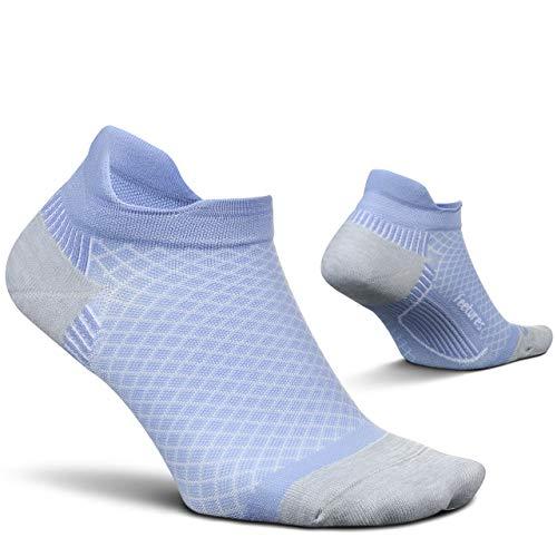 Feetures Plantar Fasciitis Cushion No Show Tab Sock (Large, Lilatech)