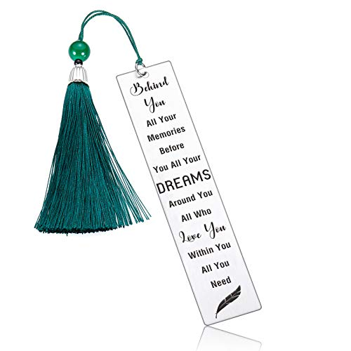 Inspirational Gift Bookmark with Tassel for Women Men Reader Metal Birthday Christmas Office 2021 Graduation Gifts for Book Lover Friends Daughter Son from Mom Dad Student Stainless Steel
