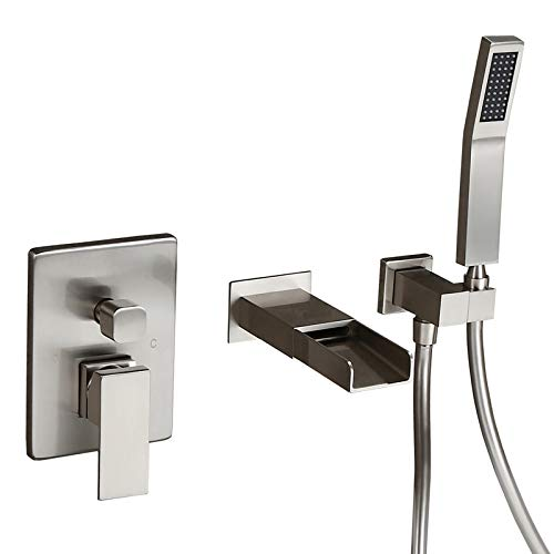 Homary Waterfall Spout Wall Mounted Tub Faucet Brushed Nickel for Bathroom Modern Single Handle Wall Bathtub Filler with Hand Shower, Solid Brass