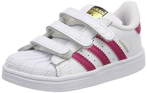 Adidas Superstar CF I,  Zapatillas de Estar por casa Unisex niños,  Blanco (Ftwbla/Rosfue/Ftwbla 000),  21 EU