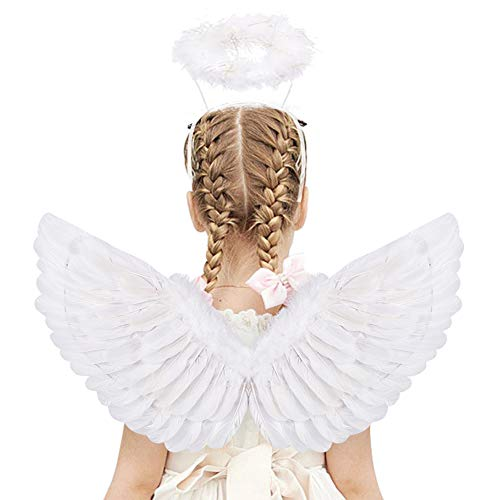 HANDIC Angel Wings and Halo Adult White Angel Wings for Kids Angel Wings Halloween Xmas Birthday Party Decorations One Size Fits Most (White)
