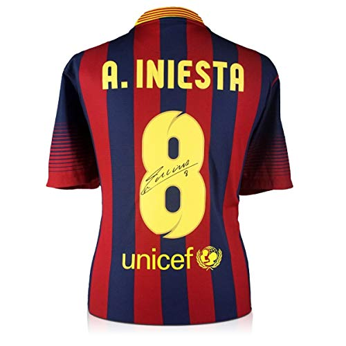 Andres Iniesta Signed Barcelona Soccer Jersey 2013-14 | Autographed Sport Memorabilia