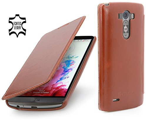 StilGut UltraSlim Book Type, Funda exclusíva en Piel auténtica para el LG G3, en coñac