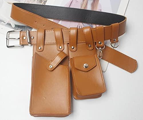 Correa para el Pecho Bolso de Cintura para Mujer cinturón de Cuero de Cuero Pecho Cuerpo Cruzado Bolsos de Pecho Chica Fanny Pack pequeño Paquete de brown-001