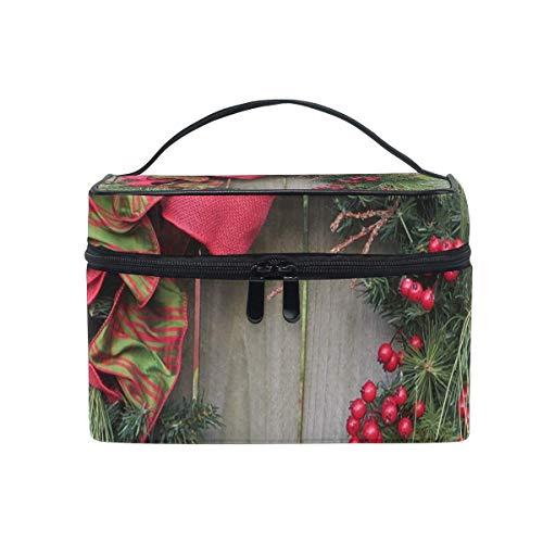 Sac de maquillage Couronne de Noël Décoration Sac cosmétique Grand sac de toilette portable pour les femmes/filles Voyage