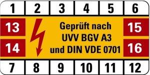 LEMAX® Prüfetiketten UVV BGVA3 und DIN VDE 0701 17-20, weiß/gelb/rot, 25x50mm, 100 Stück