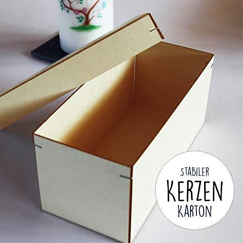 Wandtattoo Loft Aufbewahrungskarton für Patenkerze 17 x 7 cm aus praktischem Holzkarton mit Stülpdeckel Kerzenbox Kerzenkarton