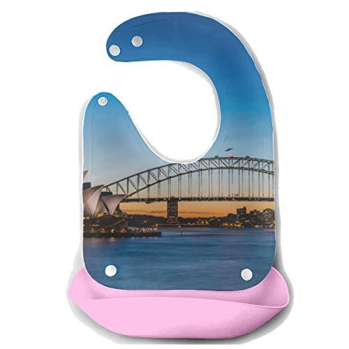 N\A Funny Baby Bibs Bridge And Opera House Bright Sydney Harbour Tablier d'alimentation en silicone détachable Serviette de souris Alimentation pour bébé Dribble Drool Bib Bavoirs pour enfants