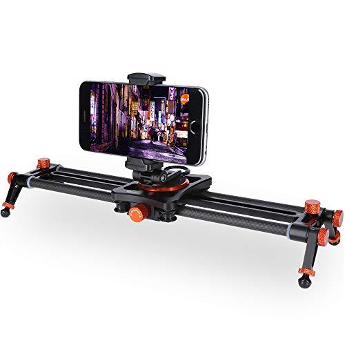Rollei 34cm Carbon Smartphone Slider I Kamera Dolly mit 1,5kg Tragkraft I Eindrucksvolle Kamerafahrten und Videoaufnahmen mit kompaktem Kamera-Slider