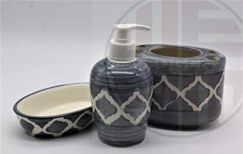 Edgen Handpainted Stainproof Ceramic Bathroom Set, Set of 3, Toothbrush Holder, Soap Tray, Soap/Sanitizer/Lotion Dispenser (Grey)