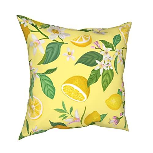 Throw Pillow Funda Fundas de Almohada 45x45cm Patrón de limón sin Costuras con Frutas Tropicales, Hojas, Flores Decoración de Fondo para decoración del hogar Oficina Sofá Holiday Bar Café Boda Coche