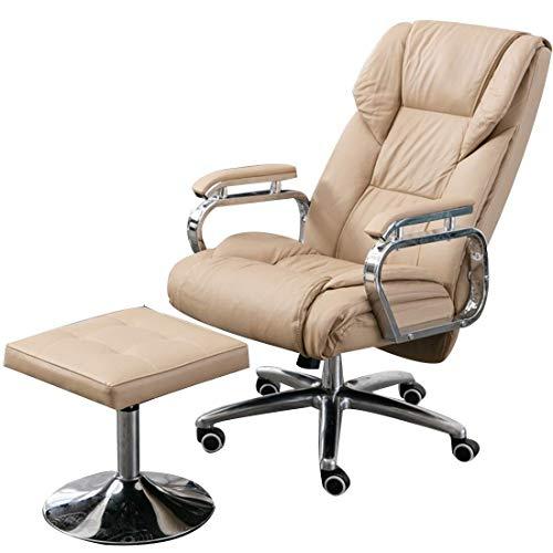 FACAZ Silla giratoria de Cuero, sillón reclinable y reposapiés, Silla ergonómica de Oficina ejecutiva, sillón de sofá de Altura Ajustable (Color: Crema)