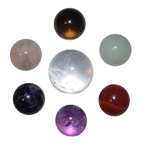 Edelstein KUGEL Set 7 Kugeln: Bergkristall, Amethyst, Carneol-Achat, Jade, Rauchquarz, Rosenquarz und Sodalith incl. 7 Hämatit Ringe als Ständer ((4790)