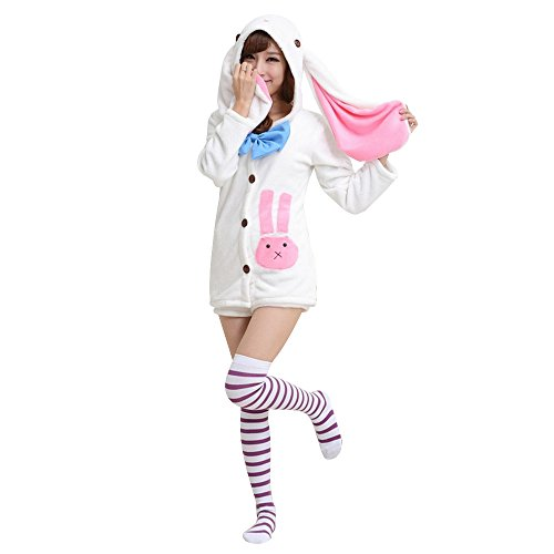 KINOMOTO Anime Costume Outfit Cosplay Rabbit Ears Hoodie Coat and Shorts Set (Top and Shorts)