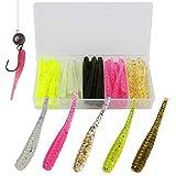 THKFISH Cebo de goma de 3,5 cm – 50 unidades para pesca de lanzado en percas y truchas, señuelo para pesca de spinning, cebo de goma para luciopercas