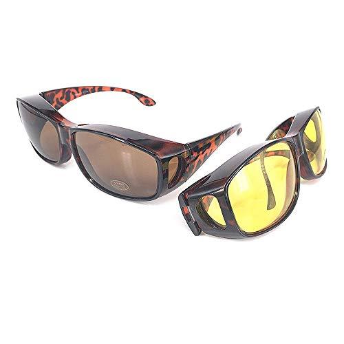 VOUNOT 2 Gafas de Sol Superpuestas, UV400 Gafas de Sol Polarizadas Hombre y Mujer, Gafas de Noches para Conducir, Amarillo y Marrón