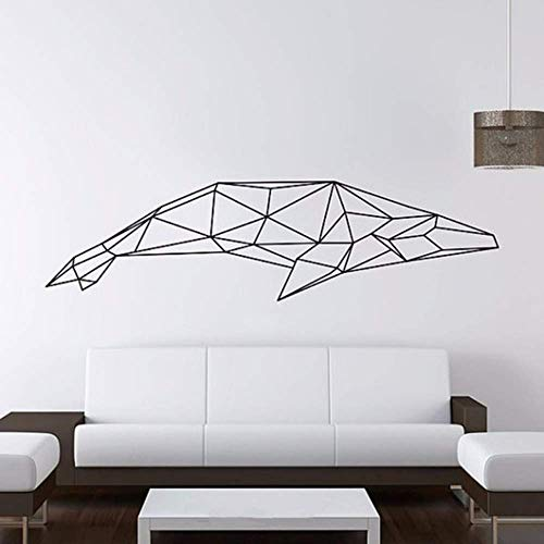 Wall Stickers Living Room Peel and Wall Sticker Vinyl Geometric Whale Wall Sticker Geometric Series Decal 3D Artist Home Decoration 130X35Cm Wall Stickers for Bedrooms Adults