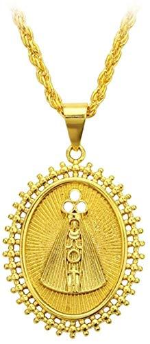 Zaaqio Collar de Disco Ovalado Declaración de Color Dorado Collar con Colgante católico Joyería 50 Cm
