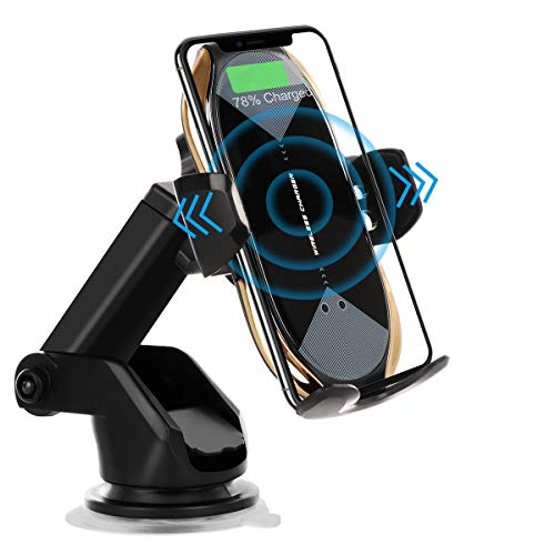 Wireless Car Charger Mount,HonShoop Auto-Clamping Qi 10W7.5W Fast Charging Car Phone Mount Air Vent Compatible with iPhone12/Mini/11/Pro/Max/XR/Xs/X/8/8Plus+Samsung S10/S10+/S9/S9+/Note and More(Glod)