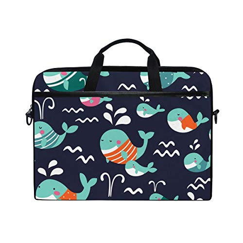 WowPrint Laptop Sleeve, Cartoon Ocean Animal Whale Laptop Case Shoulder Strap with Handle Portable Notebook Computer Bag for 13 13.3 14 15 inch