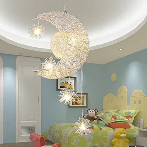 Jkckha Modern Lámparas colgantes estrella de la luna de la lámpara -Moon y estrellas y el dulce de las luces de la lámpara dormitorio luz de techo, A Adecuado para dormitorio, sala de estar y entrada.