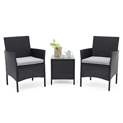 SUNCROWN Outdoor Furniture 3-Piece Patio Bistro Set 2 Chairs with Glass Top Table All-Weather Black Wicker and Thick Cushions, Garden, Backyard