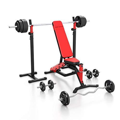 Marbo Sport Set MS1_151KG_Kier | Hantelbank MS-L101 + verstellbare Hantelständer MS-S101 + Stangen- und Hantelscheiben Set 113 kg