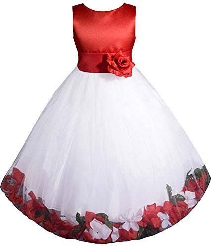 AMJ Dresses Inc Little-Girls' Red/White Flower Girl Christmas Dress E1008 Sz 2