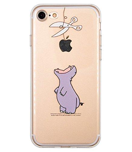 Cover iPhone 7, Cover iPhone 8, OFFLY Morbida Silicone Trasparénte Sottile (TPU) Protettiva Custodia, Creativo Stampa Protezione Cover Case per Apple iPhone 7 / 8 - Ippopotamo