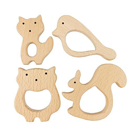 Best for baby 4pc Baby Spielzeug Holztier Anhänger Beißring Pflegezubehör Baby Zahnen Spielzeug Monterey Spielzeug
