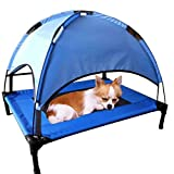JANMO Pet Cot Tent Canopy Shelter Dog Bed Foldable Indoor and Outdoor (M 30 inch, Blue)