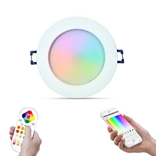 iHomma Downlight LED Empotrable en Techo Redondo,Dimmable Blanca Fría + Cálida+RGB Cambio de Color,Remoto Control con Bluetooth App+Mando a Distancia,Iluminación LED Interiorpara Baňo/Cocina,IP44,12W