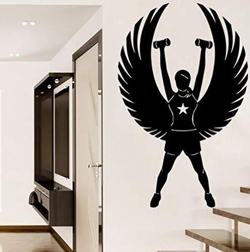 Muurstickers voor kleuterschool, decoratie voor binnenruimtes, fitness, girl, sportkamer, kunst thee, 35 x 57 cm
